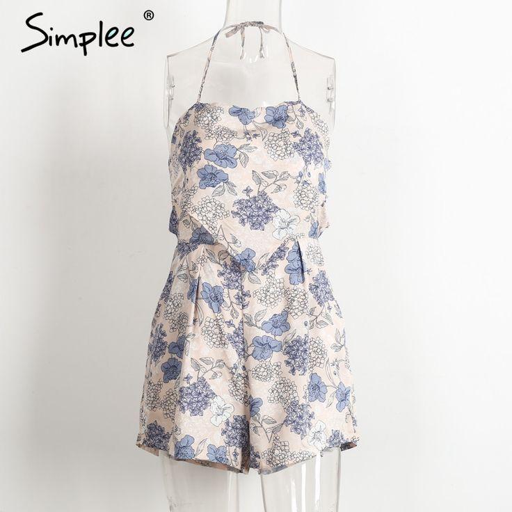 Elegant floral print jumpsuits romper women Summer beach sleeveless overalls leotard Backless playsuit