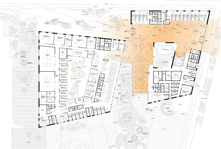Town Hall and Health Center / Henning Larsen Architects,plan level 01