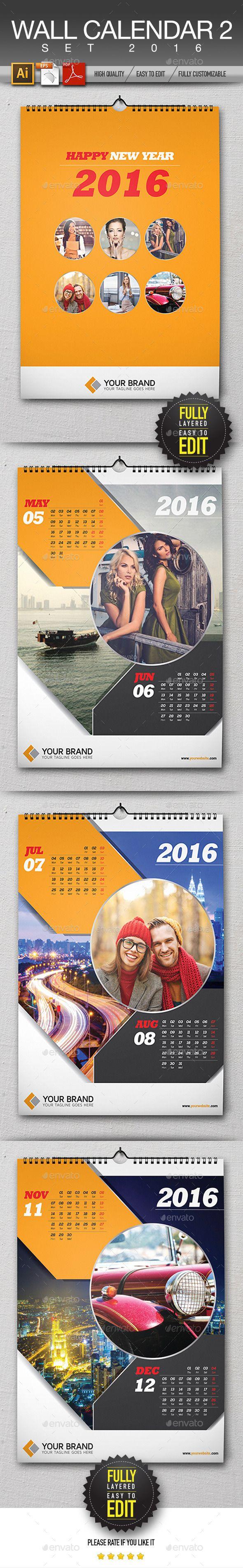 Wall Calendar 2016 Template #design Download: http://graphicriver.net/item/wall-calendar-2016/13069845?ref=ksioks