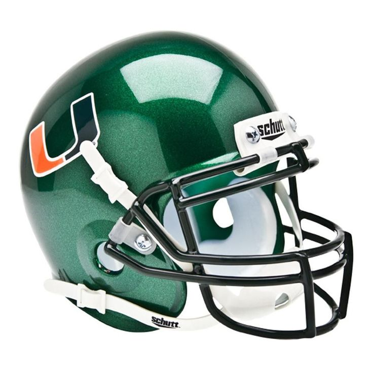"""""""These mini helmets are finely crafted versions of the actual competition helmets. They are approximately 4 1/2x5 in size. They have complete detail, including realistic wire facemasks. Schutt mini's"""