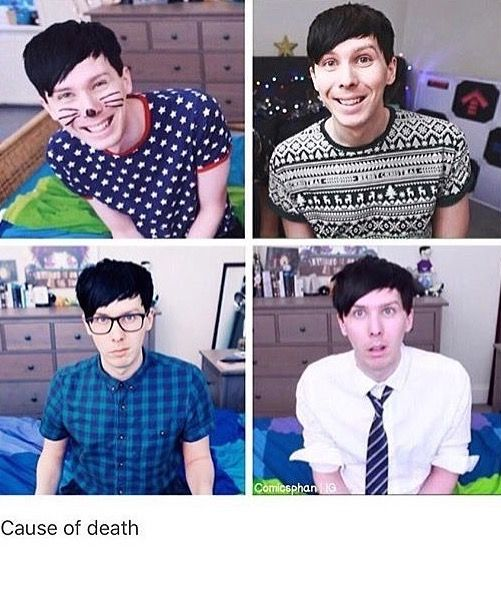 Cause of death: the sudden hotness of the bottom left picture after staring at smiley adorable Phil in the top two