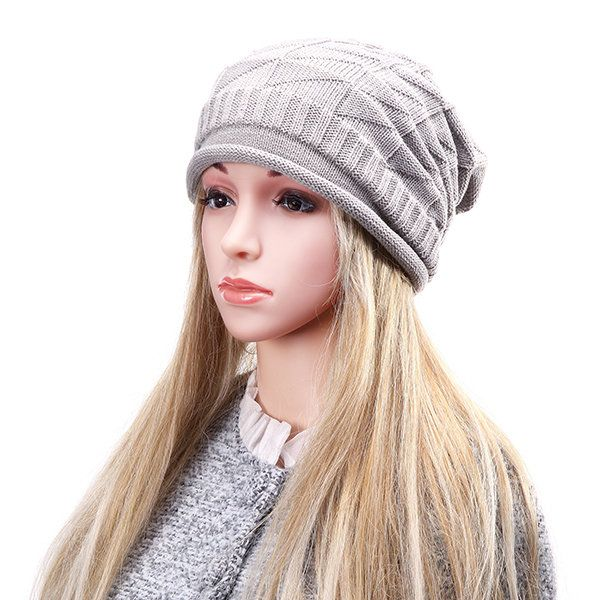 Men Women Knitted Crochet  Baggy Beanie Caps Diamond Shaped Grid Warm Outdoor Ski Hats
