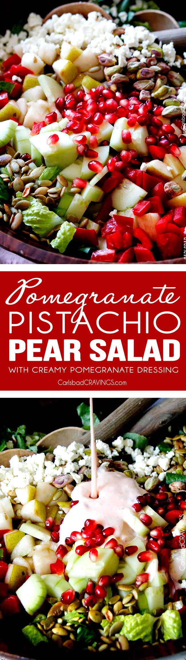 Perfect for THANKSGIVING!  This salad is SO addictingly delicious! Sweet pomegranate arils, pears, apples, crunchy cucumbers and peppers complimented by salty roasted pistachios and pepitas all doused in Creamy Pomegranate Dressing! via @carlsbadcraving