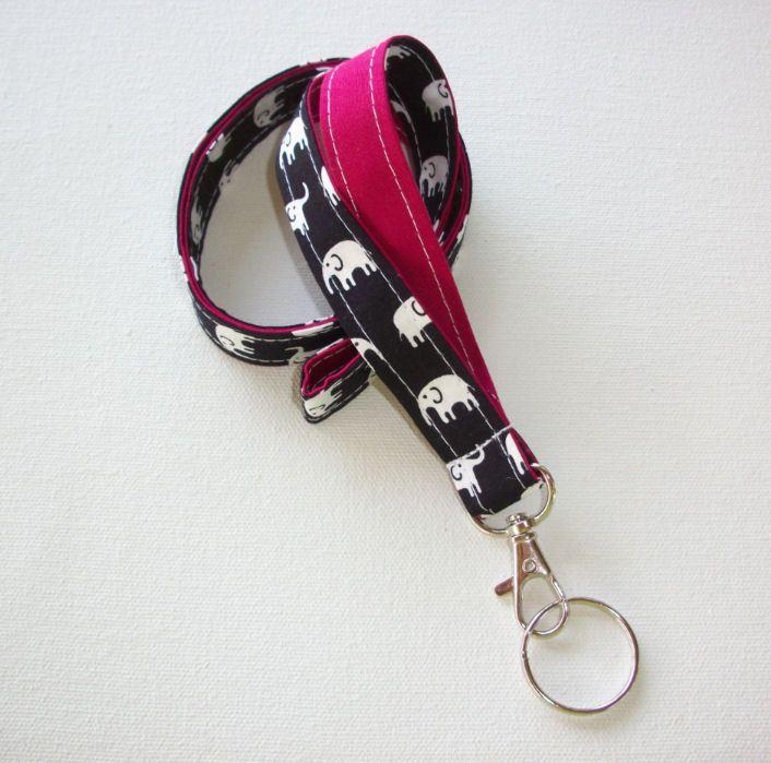 Lanyard Id Holder Key Leash badge holder dark navy white elephants Sangria red #Handmade  preppy / fabric / cute / patterns / key chain / office, nurse, student id, badge / key leash / gifts / key ring / design your own / add a colorful tassel