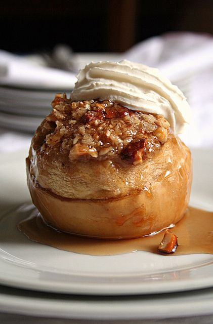Baked Apple with Hazelnut Crumble