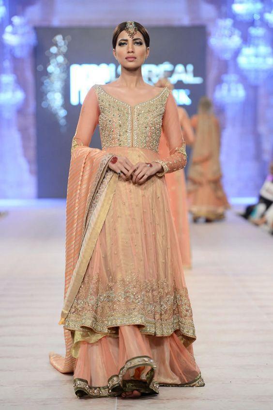 Peach colored pakistani dresses