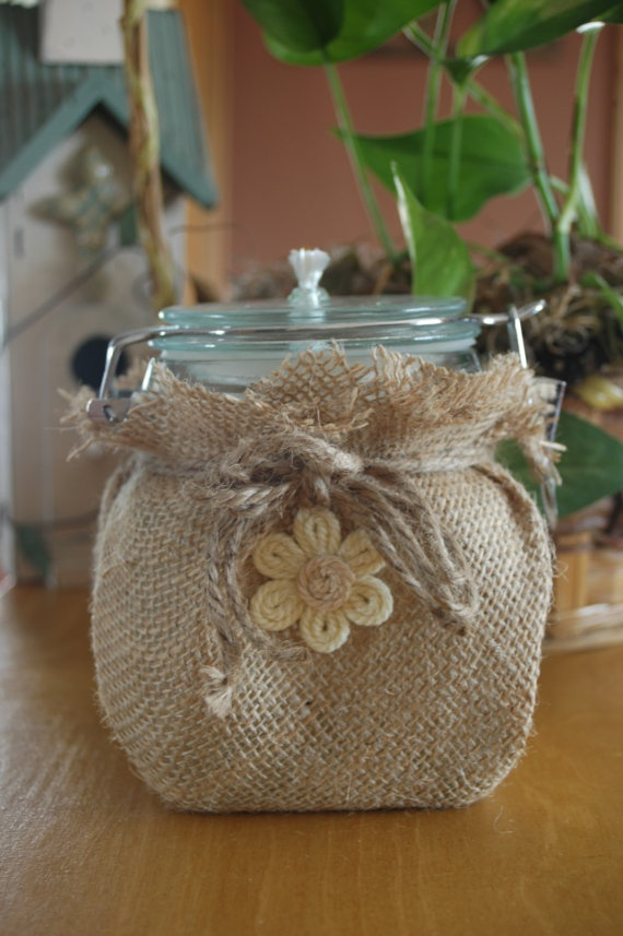 Burlap Beauty burlap wrapped  bale jar by PineknobsAndCrickets on Etsy, $20.00