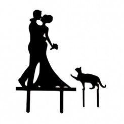 Taarttopper Acryl Man & Vrouw met Kat