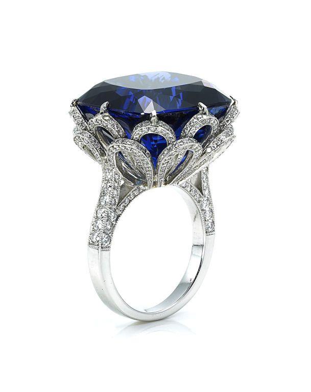 Ashok Sancheti - Ashok Sancheti Lotus Blossom Tanzanite and Diamond Ring - Designs by Ashok Sancheti