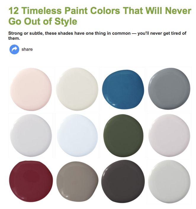 Timeless paint colors  http://www.housebeautiful.com/decorating/colors/timeless-paint-colors?src=spr_TWITTER&spr_id=1451_131328092#slide-7