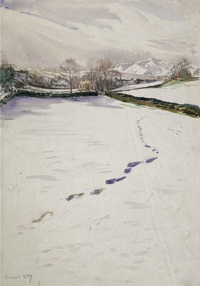 Beatrix Potter, 'Sketch of Footprints in Snow (1909)' © Frederick Warne  Co.