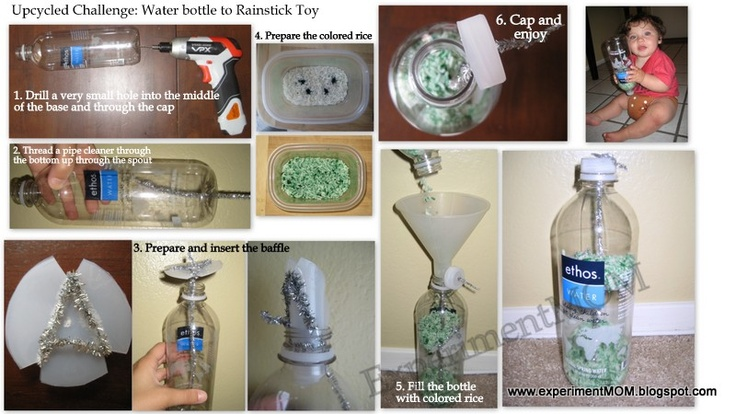 Upcycled Challenge: Water bottle to Rainstick Toy #freefromtrash www.experimentmom.blogspot.com: Water Bottle