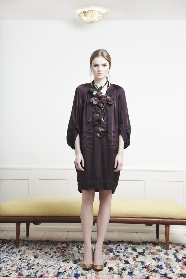 Rützou purple silk shirt dress