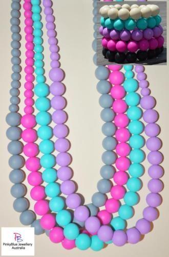 Price: $21.95 http://www.ebay.com.au/itm/SILICONE-NECKLACE-BRACELET-SET-Funky-Fashion-Womens-Jewellery-Pebble-Beads-/252237408091?ssPageName=STRK:MESE:IT