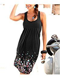 a21b620dc3a09 Womens Summer Casual Sleeveless Mini Printed Vest Dresses