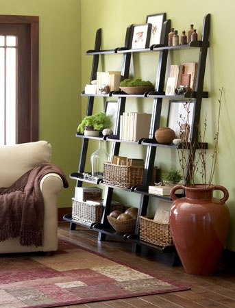Leaning shelves. I have these and mine looks so cluttered!