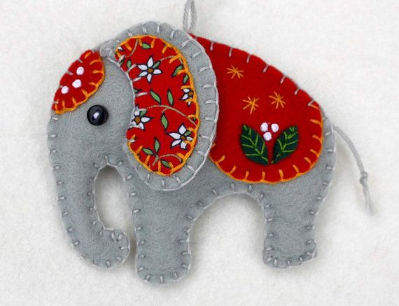 CHRISTMAS IN JULY! FREE SHIPPING THROUGHOUT JULY.  Handmade felt elephant ornament for Christmas or any occasion. Made from grey felt with hand-embroidered details in a range of colours. Please choose red, orange, green, teal, blue or purple from the drop-down menu.  The listing is for one elephant, which measures approx. 3 x 3 inches ( 8 x 8 cm.)