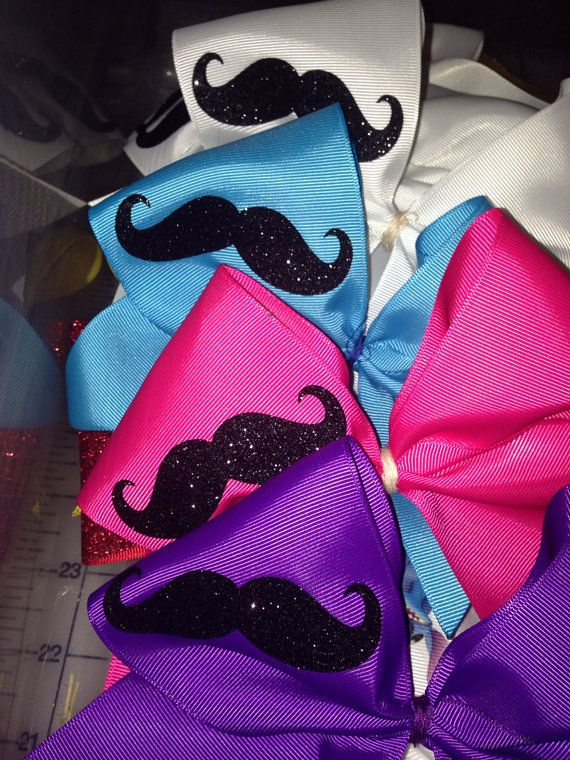 Mustache Cheer Bow on Etsy, $6.50