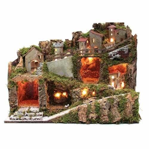 Borgo presepe con luci e vaschetta effetto lago 40x60x35 | vendita online su HOLYART