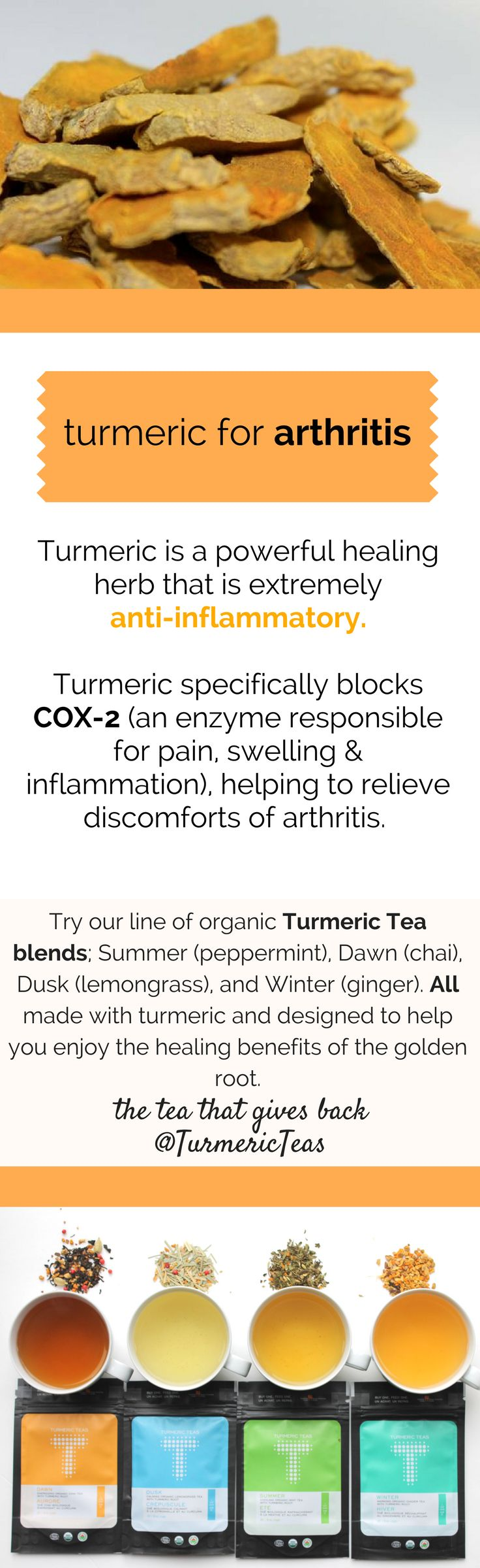 Arthritis discomfort can be relieved with the help of turmeric. Click to read how turmeric and arthritis prevention are linked on our blog. #arthritis #arthritisremedy #remedy #healthyliving #antiinflammatory #turmeric #turmericteas