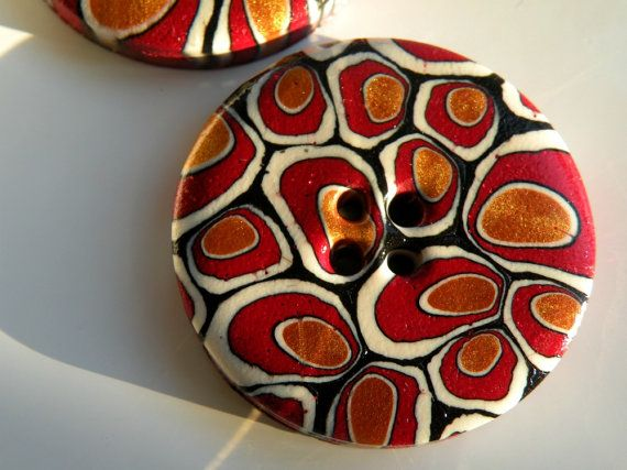 Set of 2 One-of-a-kind Handmade Buttons... by ArzuMusa on Etsy