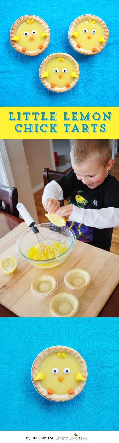 How to Make Little Chick Lemon Tarts. A Cute No Bake Recipe and Party Idea for Kids! LivingLocurto.com