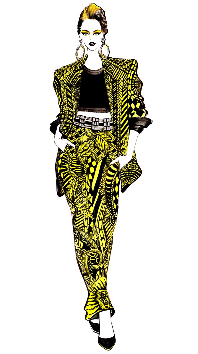 illustration by Sunny Gu.Inspired by Balmain Spring 2013 RTW #fashion #illustration #fashionillustration