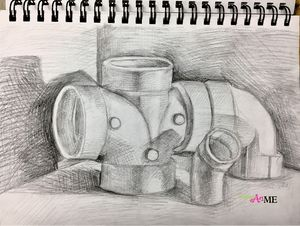"""Sketchbook Assignment Ideas: SB #53 PVC Pipes: Choose 3-5 PVC pipe joint connectors and arrange them in an interesting composition. Draw the PVC pipe composition. Use drawing pencils to add shading-pay close attention to value changes. Shading should include the """"5 Elements of Shading"""". Medium: Drawing Pencils (Optional full project: PVC Pipe Charcoal Drawing)"""