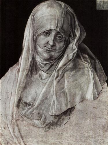 Albrecht Dürer ~ Portrait of Agnes Dürer as St. Anne, 1521