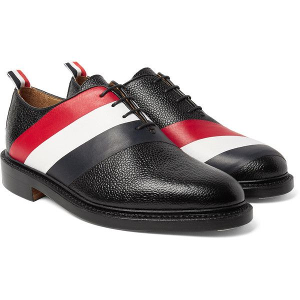 Thom Browne Striped Pebble-Grain Leather Oxford Shoes ($1,075) ❤ liked on Polyvore featuring men's fashion, men's shoes, men's dress shoes, mens red oxford shoes, mens oxford shoes, mens oxford dress shoes, mens red shoes and mens red dress shoes