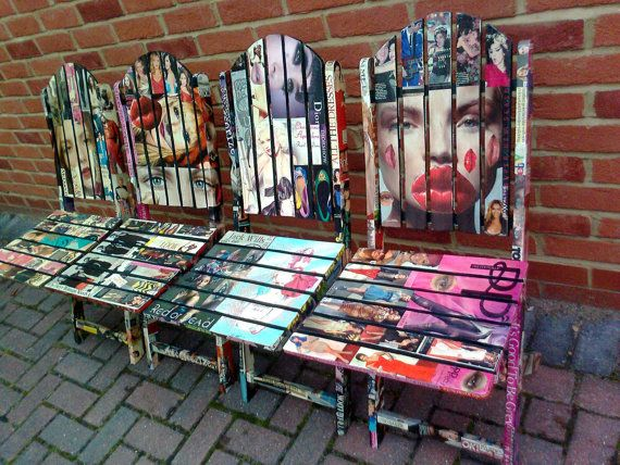 Decoupage Wooden Garden Chairs-Fashion magazines-upcycled chairs-revamped chairs-folding chairs.. £400.00, via Etsy.