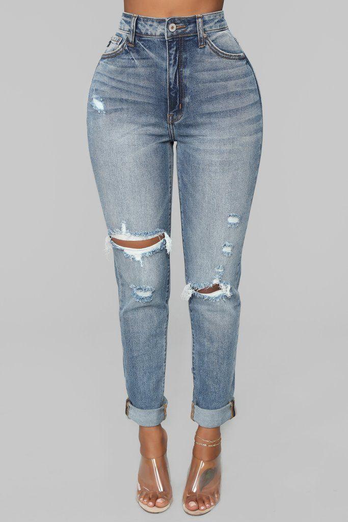 132a5eb8680 Teisha Distressed Boyfriend Jeans - Medium Blue Wash Boyfriend Jeans, Nova, Skinny  Jeans,