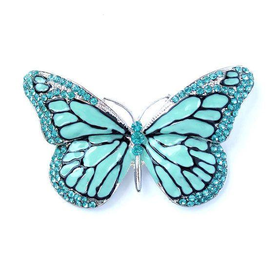 Aqua Blue Brooches, Aqua Blue Bouquet Broaches, Butterfly Broach, Aqua Blue Butterfly Pin, Aqua Wedding Cake Brooch, Malibu Blue Brooches