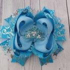 Princess Frozen Bow Beauty Crown Party hairbows rhinestone Bow