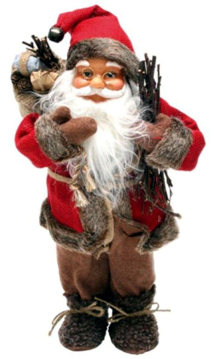 Deko Weihnachtsmann Figur braun, rot mit Aeste ca 40cm