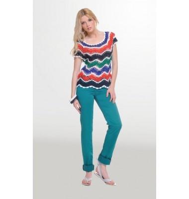 Πολύχρωμη hand crochet πλεκτή μπλούζα με κοντό μανίκι, 1-325355  colourful top women's fashion