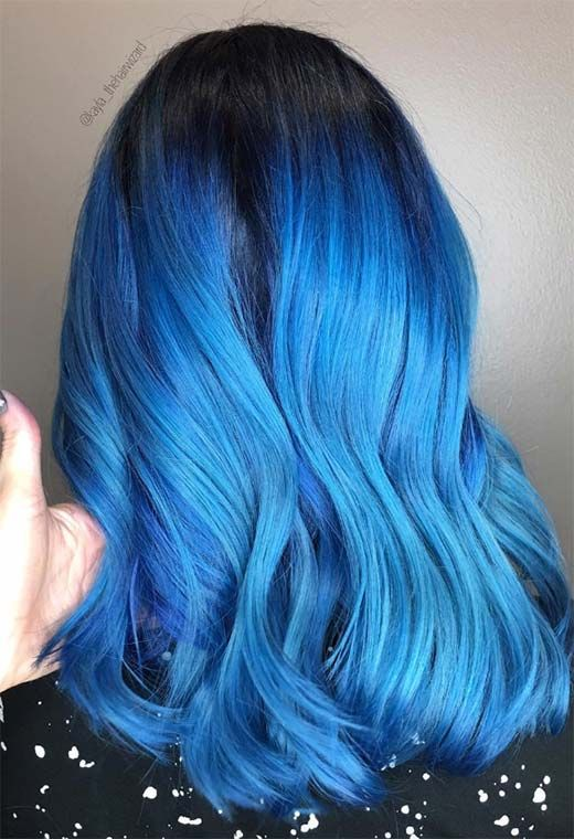 65 Iridescent Blue Hair Color Shades Blue Hair Dye Tips Dyed