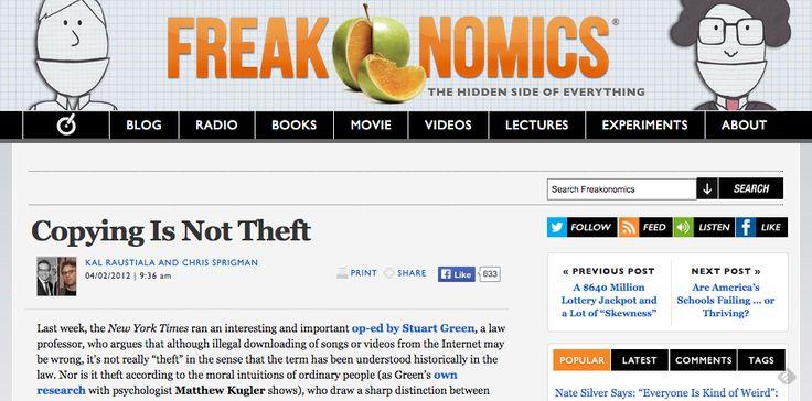 Freakonomics » Copying Is Not Theft