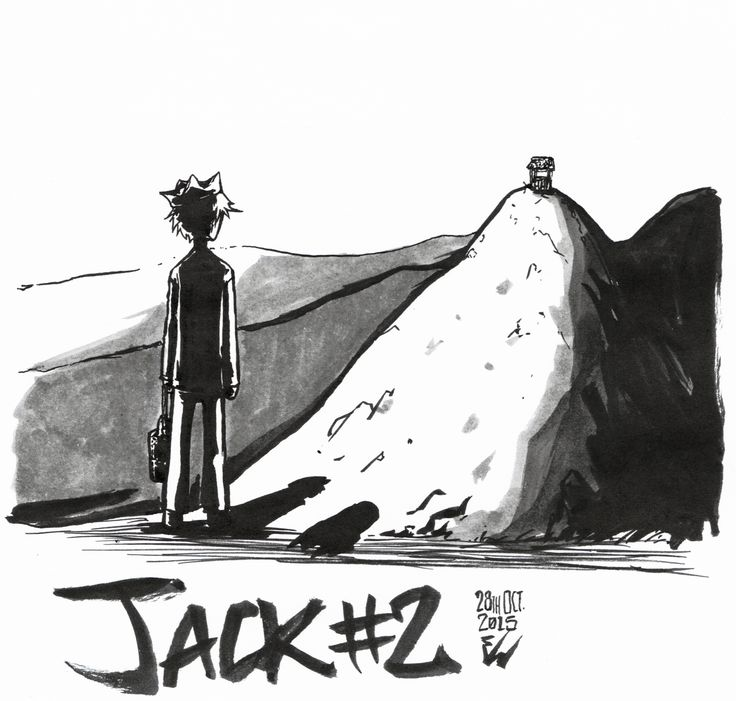 #inktober2015 -28- Jack #2 is for the unfortunate Jack, who's about to climb the slippery hill with his sister, Jill.