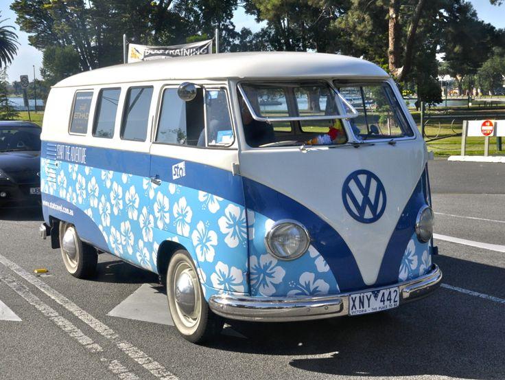 70's VW mini bus, on the road. Mel