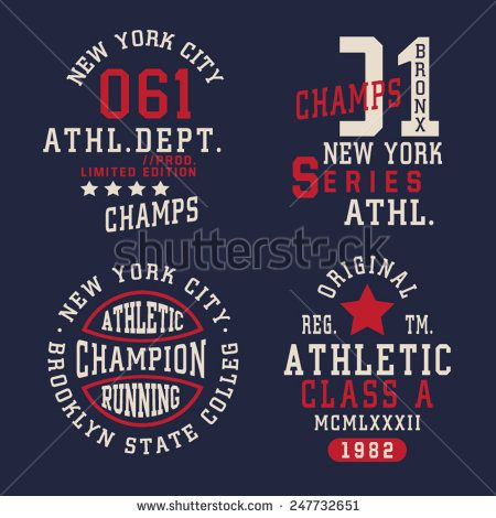 Athletic sport labels typography, t-shirt graphics, vectors, emblems set  - stock vector