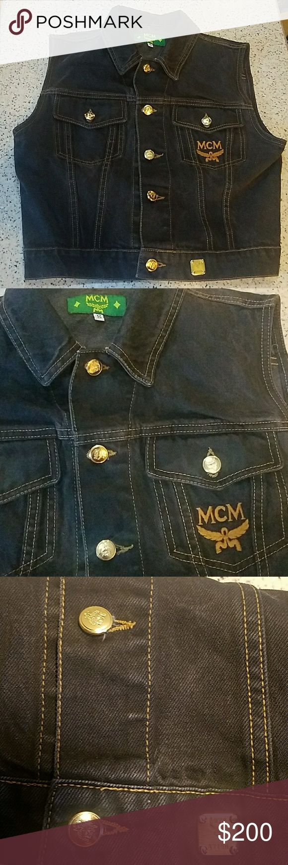 Vintage MCM Washed Out Black Denim Vest Great condition! Some scratches on the hardware but overall amazing vintage vest. MCM Jackets & Coats Vests