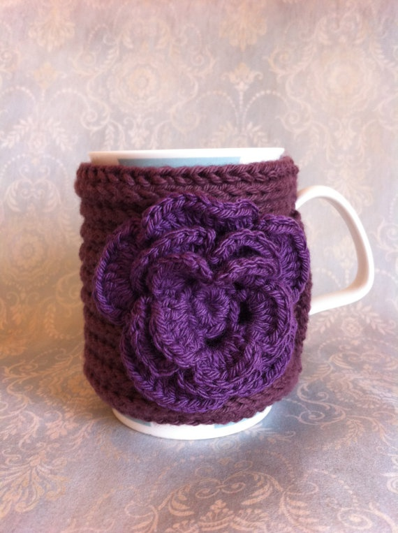 Purple flower mug cozy by Tickledpinksheep on Etsy, £10.00 --I could make this!