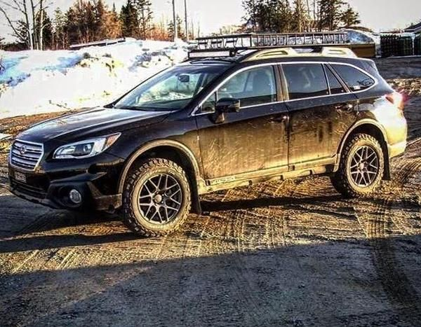 "Make: Subaru Model: Outback 2.5i limitedYear: 2015 Color: Crystal Black Silica Modifications: Tires: 245/65R17 BFGoodrich All Terrain T/A KO2 Wheels: RTX Envy 17"" Lift Kit: LP Aventure 2"" Accessories: Cargo basket / LED light bar / Mud flaps"