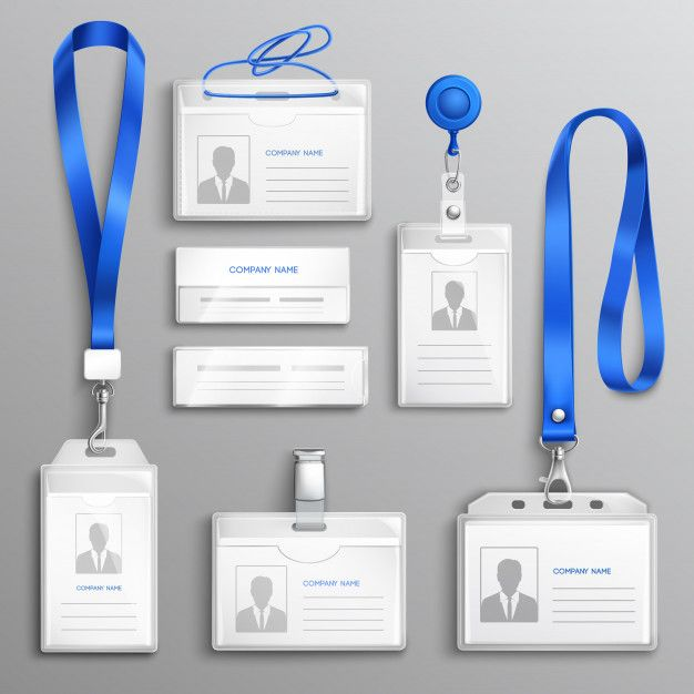 Download Id Card Holders Realistic Set For Free Employee Id Card Id Card Template Badge