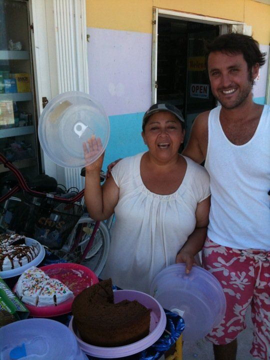 Every afternoon, at 3pm, the Cake Lady strolls the main street of Caye Caulker (a small island off the coast of Belize) carting a trolley stacked high with cakes direct from her kitchen. She knows everybody by name, exudes such happiness and helps make both residents and guests on the island feel like they are apart of one big family!