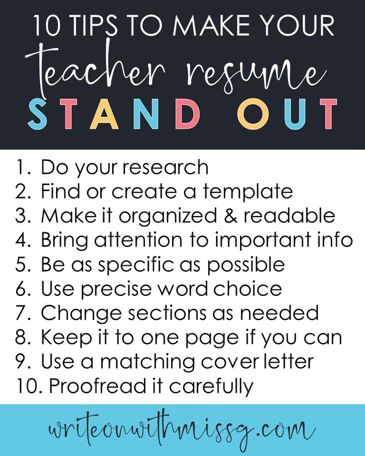 10 TIPS TO MAKE YOUR TEACHER RESUME STAND OUT Write on