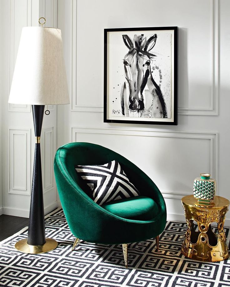 [repost] Yet another example of something that is a traffic stopper. We can't decide if we love the emerald couch more, the carpet, the pillow, or the print on the wall! .⠀ .⠀ .⠀ Enviable emerald. (via @jonathanadler @jenna_snyderphillips)⠀ .⠀ .⠀ #emerald #blackandwhite #interiordecor #interiordesign #classyinteriors #art #luxuryinteriors #architecture #horse #green #couch