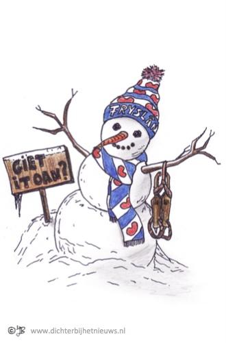 Graphic about winter in Holland (Friesland) Fryske sniepop