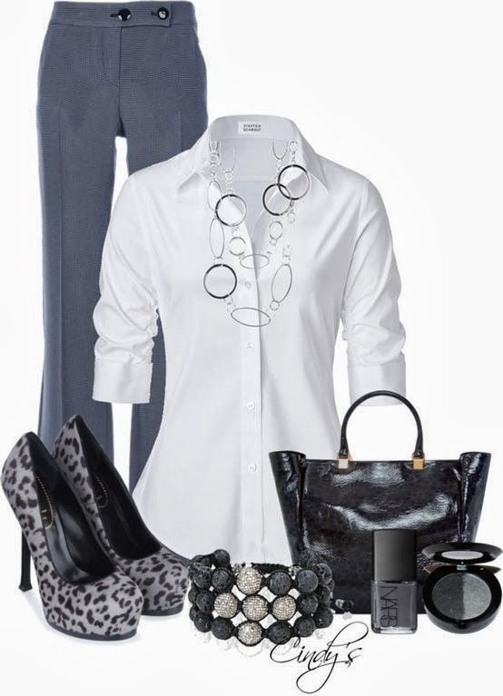 Work Outfit With Black Bag and Grey Shoes